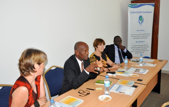Chief Executive Officer of UONGOZI Institute, Professor Joseph Semboja (second from left) speaking to a delegation of journalists from Finland when they visited the Institute on Friday, 18 March, 2016. From left is the Head of Development Cooperation at the Embassy of Finland, Ms. Milma Kuttenen, Ms. Liisa Tervo, Partnership Advisor at UONGOZI Institute, and Mr. Dennis Rweyemamu, Head of Research and Policy at UONGOZI Institute.