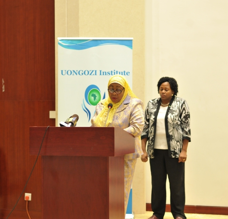 Vice-President Hon. Samia Suluhu Hassan gives the key-note address during the Women in Leadership Conference held at Julius Nyerere International Convention Center that gathered 100 women leaders in business, government, the private sector, civil society and politics on 12th April 2016.